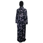 One Size Navy Blue Women's Loose Prayer Clothes Abaya Gown With Head Wrap Hijab