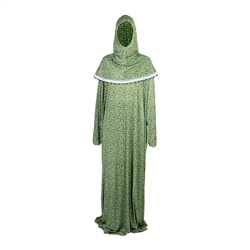 One Size Light Green Women's Loose Prayer Clothes Abaya Gown With Wrap Hijab