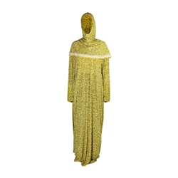 One Size Gold Floral Women's Loose Prayer Clothes Abaya Gown With Wrap Hijab