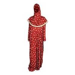 One Size Maroon Floral  Women's Loose Prayer Clothes Abaya Gown With Wrap Hijab