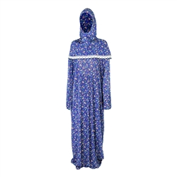One Size Navy Blue Flower Abaya Women's Loose Prayer Clothes Gown With Wrap Hijab
