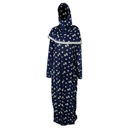 One Size Royal Blue Women's Loose Prayer Clothes Abaya Gown With Head Wrap Hijab