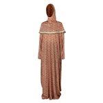 One Size Pink Flower Women's Loose Prayer Clothes Abaya Gown With Hijab