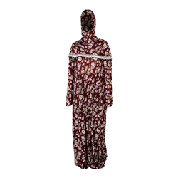 One Size Red Floral Women's Loose Prayer Clothes Abaya Gown With Hood Hijab