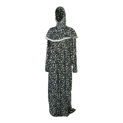 One Size Black Tulip Loose Adult Prayer Clothes Abaya Gown With Head Wrap Hijab