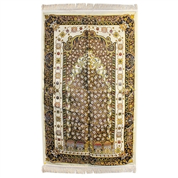 Muslim Kids Prayer Rug Mat with Wonderful White Black and Yellow Design