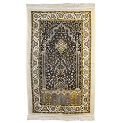 Muslim Prayer Rug Mat with Wonderful Black White and Yellow Design