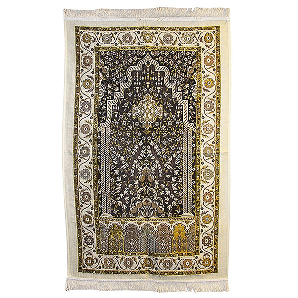 Muslim Prayer Rug With Wonderful Black White And Yellow