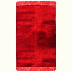 Solid Plain Janamaz Sajadah Dark Red Color Velour Prayer Rug with Tassels