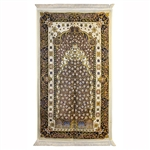 Muslim Prayer Rug Mat Wonderful Black White and Yellow Design
