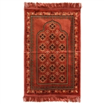 Muslim Prayer Rug Mat Rose Tan Gold & Black Design