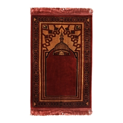 Muslim Prayer Rug Mat Rose Black Tan Color with Rose Tassels #PM195