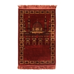 Prayer Rug Mat Rose Tan Black with Rose Tassels