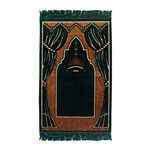 Prayer Rug Mat Green Tan Black with Green Tassels