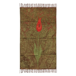 Muslim Prayer Rug Mat Dark Green Red Green Color with Tassels #PM267