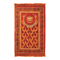 Muslim Prayer Rug Mat 2.3 x 3.6' Orange Tan Burnt Orange Color Tassels
