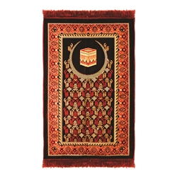 Prayer Rug Mat Tan and Burgundy with Red Tassels