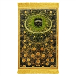 Prayer Rug Mat Yellow Green and Black with Tassels