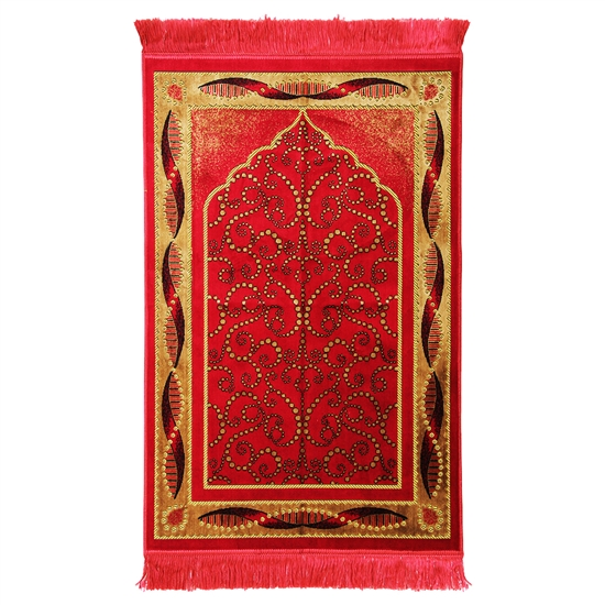 Prayer Rug Mat Pink and Gold Color with Tassels