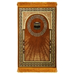 Muslim Prayer Rug Mat Orange & White with Tassels