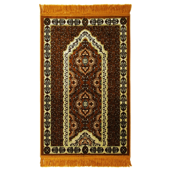 Muslim Prayer Rug Mat Orange White & Black Color