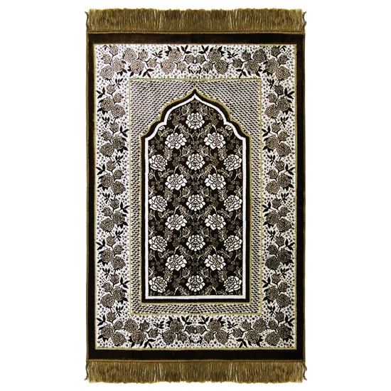 Prayer Rug Mat Henna Green and White with Tassels