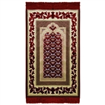 Muslim Prayer Rug Mat Burgundy Cream with Tassels
