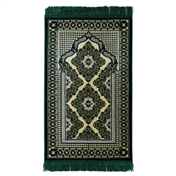 Muslim Prayer Rug Mat Green and Tan, Green Tassels