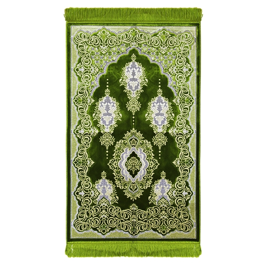 Muslim Prayer Rug Mat Green and White with Tassels