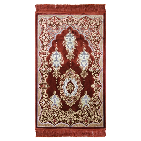 Prayer Rug Mat Burgundy & Tan Design with Tassels