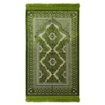 Prayer Rug Mat Green and Tan with Green Tassels