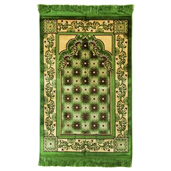Muslim Prayer Rug Mat Tan and Green with Tassels