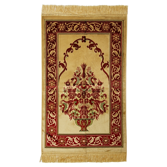 Muslim Prayer Rug Mat Tan and Red with Tassels
