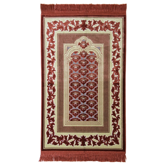 Muslim Prayer Rug Mat Cream and Brown with Tassels