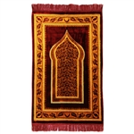 Muslim Prayer Rug Mat Orange Burgundy with Tassels
