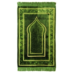 Muslim Prayer Rug Mat Green and Tan with Tassels