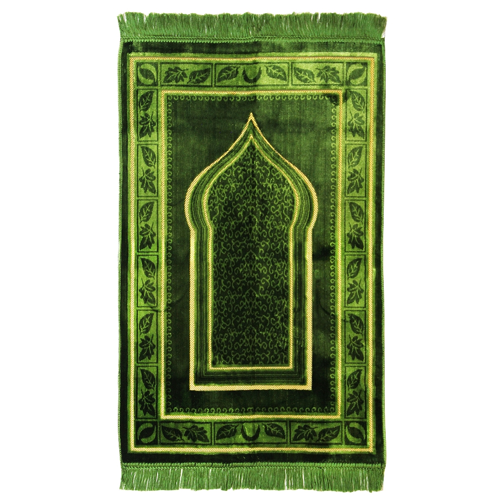 Muslim Prayer Rug Green And Tan With Tassels Pm424