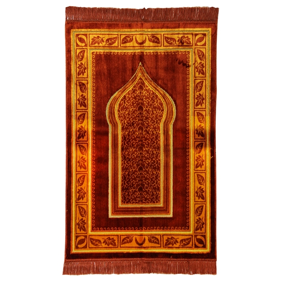 Muslim Prayer Rug Mat Orange & Brown with Tassels