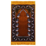 Prayer Rug Mat Brown Black and White with Tassels