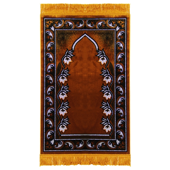 Prayer Rug Brown Black And White With Tassels Pm459