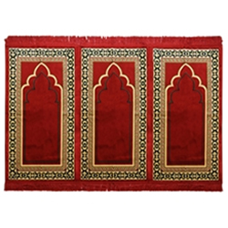 Muslim Prayer Rug Triple Mat Red Cream Black with Tassels
