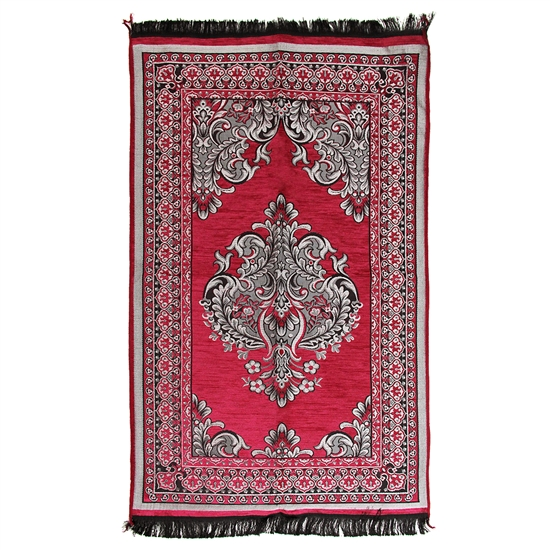 Burgundy Red Prayer Rug with Archway Design and Black Tassels