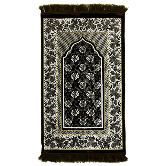 Seaweed Green Suede Prayer Rug with White Floral Archway Design and Green Tassel