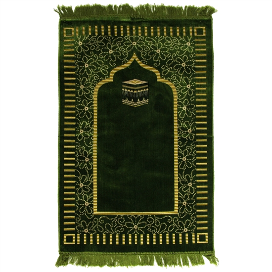 Forest Green Suede Prayer Rug with Kaba Archway Design and Green Tassels