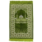 Lime Green Suede Prayer Rug with White Al-Nabawi Design and Green Tassels