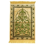 Tan Suede Prayer Rug with Green Foliage Archway Design and Tan Tassels