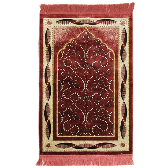 Red Suede Prayer Rug with Tan Foliage Archway Design and Red Tassels