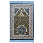 Muslim Prayer Rug 3.6' x 2.3' Blue Orange and Yellow Color with Tassels