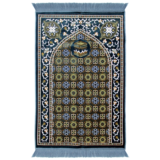 Muslim Prayer Rug Blue Yellow White Tassels