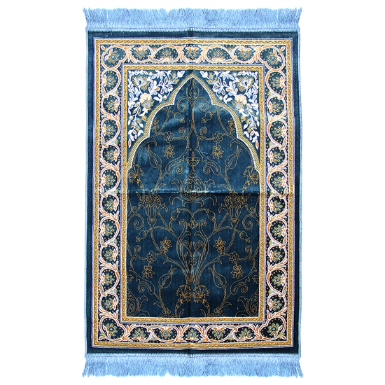 Muslim Prayer Rug Blue Yellow White Color Tassels